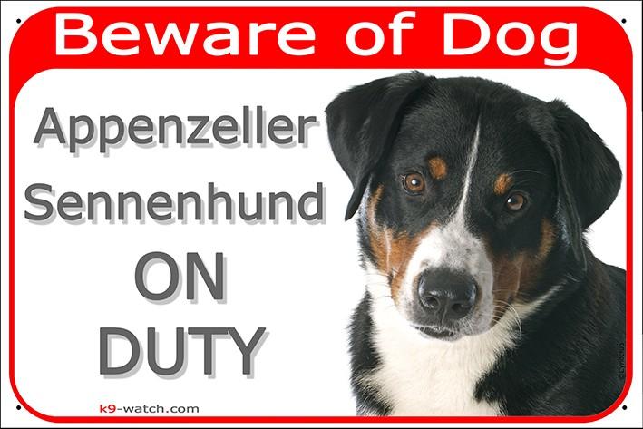 Appenzeller Sennenhund Head Gate Plaque Beware Of Dog On Duty Sign Placard Panel