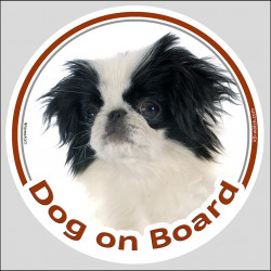 "Circle sticker ""Dog on board"" 15 cm, Japanese Chin Spaniel Head, label decal adhesive car"