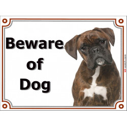 Portal Sign, 2 Sizes Beware of Dog, Brindle German Boxer head, Gate plate