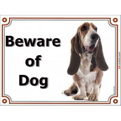 Portal Sign, 2 Sizes Beware of Dog, Basset Hound head, Gate plate Hund
