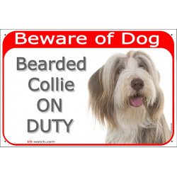 Portal Sign red 24 cm Beware of Dog, Brown Bearded Collie on duty, Gate plate Fawn Colly