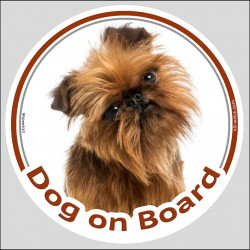"Circle sticker ""Dog on board"" 15 cm, Brussels Griffon Head, decal label car Bruxellois Belge"