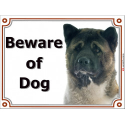 Portal Sign, 2 Sizes Beware of Dog, Fawn Brindle American Akita head, Gate plate