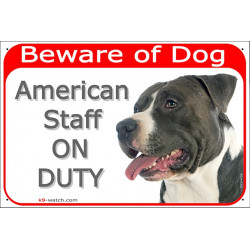 Portal Sign red 24 cm Beware of Dog, Black and White Amstaff on duty, Gate plate American Staffordshire Terrier