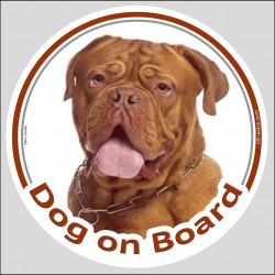 "Circle sticker ""Dog on board"" 15 cm, Red Mask Dogue de Bordeaux Head, label decal adhesive french Mastiff bordeauxdog"