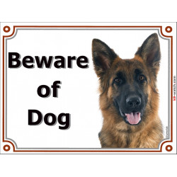 Portal Sign, 2 Sizes Beware of Dog, Medium-Hair German Shepherd head, Gate plate Deutsch
