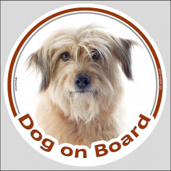 "Circle sticker ""Dog on board"" 15 cm, Fawn Pyrenean Shepherd Head, decal label adhesive sheepdog, berger des pyrenees"