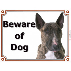 Portal Sign, 2 Sizes Beware of Dog, Brindle English Bull Terrier head, Gate plate