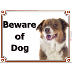 Portal Sign, 2 Sizes Beware of Dog, Red Tricolor Australian Shepherd head, Gate plate Aussie Tricolour
