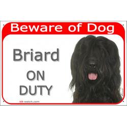 Portal Sign red 24 cm Beware of Dog, Black Briard on duty, Gate Plate Berger de Brie