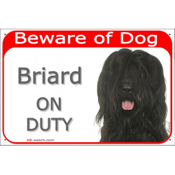Portal Sign red 24 cm Beware of Dog, Black Briard on duty, Gate Plate Berger de Brie, photo notice placard