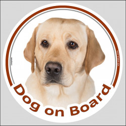 "Circle sticker ""Dog on board"" 15 cm, Yellow Labrador Retriever Head, Decal adhesive label"