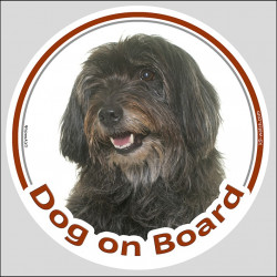 "Circle sticker ""Dog on board"" 15 cm, Black Pyrenean Shepherd Head, Decal adhesive label berger des pyrenees"