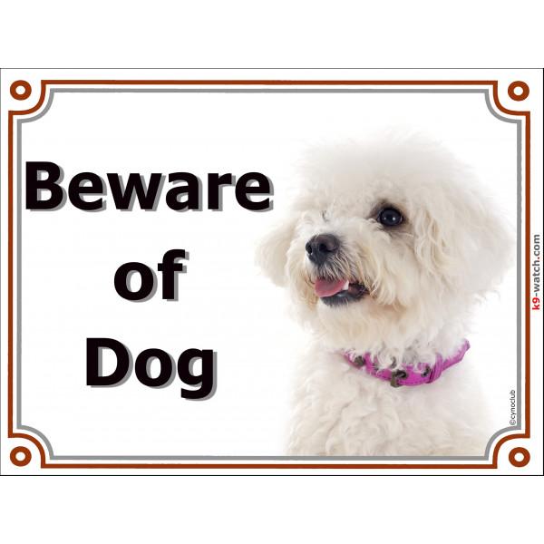 Portal Sign, 2 Sizes Beware of Dog, Bichon Frise Tenerife head, gate plate