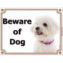 Portal Sign, 2 Sizes Beware of Dog, Bichon Frise head