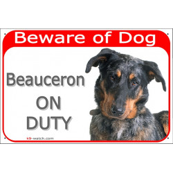 Portal Sign red 24 cm Beware of Dog, Merle Beauceron on duty, Gate plate French Beauce Shepherd Arlequin