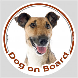 "Circle sticker ""Dog on board"" 15 cm, Smooth Fox Terrier Head, Label adhesive decal"