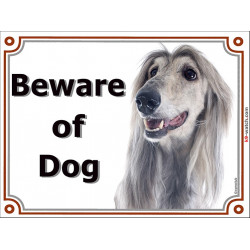 Portal Sign, 2 Sizes Beware of Dog, Silver Blue Afghan Hound head, Gate plate grey greyhound