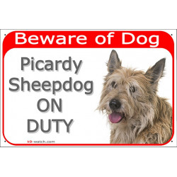 Portal Sign red 24 cm Beware of Dog, Berger Picard on duty, Gate plate Picardy Sheepdog