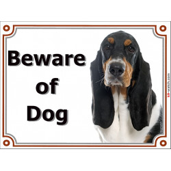 Portal Sign, 2 Sizes Beware of Dog, Tricolor Basset Hound head, Gate plate Hund