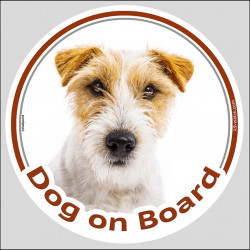 "Circle sticker ""Dog on board"" 15 cm, Brown Jack Russell Terrier Head, decal adhesive label brown and white"