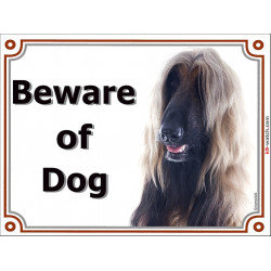 Portal Sign, 2 Sizes Beware of Dog, red black mask Afghan Hound head, Gate plate fawn persan greyhound