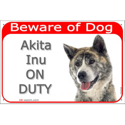 """Red Portal Sign red """"Beware of Dog, Brindle Japanese Akita Inu on duty"""" Gate plate photo notice, Door plaque"""