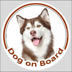 "Circle sticker ""Dog on board"" 15 cm, Red Siberian Husky Head, label adhesive decal car copper light"