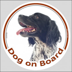 "Circle sticker ""Dog on board"" 15 cm, Black Brittany Spaniel Head, Decal adhesive label car"