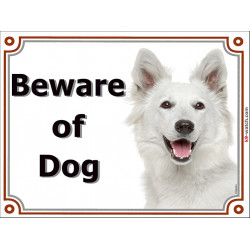"White Shepherd head, portal Sign ""Beware of Dog"" Photo Gate plate, Portal Placard Canadian American notice"
