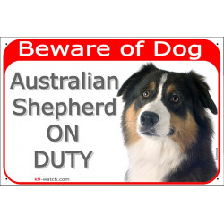 Portal Sign red 24 cm Beware of Dog, Black Tricolour Australian Shepherd on duty, Gate plate, Portal placard Aussie