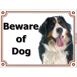 Portal Sign, 2 Sizes Beware of Dog, Bernese Mountain Dog head, Gate plate portal placard panel Berner Cattle Sennenhund