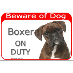 Portal Sign red 24 cm Beware of Dog, Brindle Boxer on duty, Gate Plate German Deutscher Portal placard panel