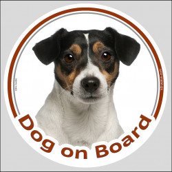 "Circle sticker ""Dog on board"" 15 cm, Tricolour Jack Russell Terrier Head, Decal adhesive label car"