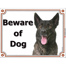Portal Sign, 2 Sizes Beware of Dog, Brindle Dutch Shepherd head, gate plate portal placard panel