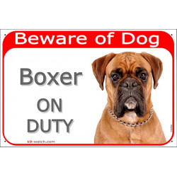 Portal Sign red 24 cm Beware of Dog, Brown Fawn Boxer on duty, Gate Plate german orange portal placard panel