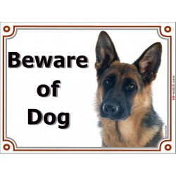 Portal Sign, 2 Sizes Beware of Dog, Short-Hair German Shepherd head, Gate plate Medium Haired GSD Portal placard panel
