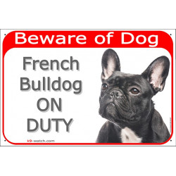 Portal Sign red 24 cm Beware of Dog, Brindle French Bulldog on duty, Gate plate, Portal placard panel black