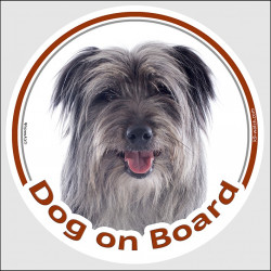 "Circle sticker ""Dog on board"" 15 cm, Grey Pyrenean Shepherd Head, Decal car adhesive label blue silver, berger des pyrenees"