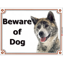 Portal Sign, 2 Sizes Beware of Dog, Brindle Japanese Akita Inu head, Gate plate, portal placard panel