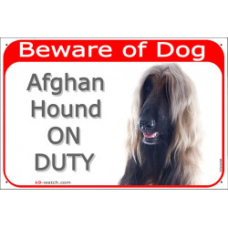 Portal Sign red 24 cm Beware of Dog, Fawn Red Afghan Hound on duty