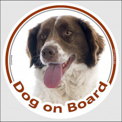 "Circle sticker ""Dog on board"" 15 cm, Brown Liver and white Brittany Spaniel Head, Decal adhesive car label french"