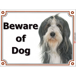 Portal Sign, 2 Sizes Beware of Dog, Black and White Bearded Collie head, Gate plate, portal placard panel collie sheepdog