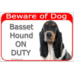 Portal Sign red 24 cm Beware of Dog, Tricolor Basset Hound on duty, Gate plate, portal placard panel Hund