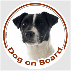 "Circle sticker ""Dog on board"" 15 cm, Black and White Jack Russell Terrier Head, Decal adhesive car label"