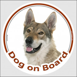 "Czechoslovakian Wolfdog, car circle sticker ""Dog on board"" decal adhesive photo notice label Vlcak"