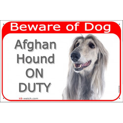 Portal Sign red 24 cm Beware of Dog, Silver Grey Afghan Hound on duty, Gate plate, Portal placard, persan greyhound hund