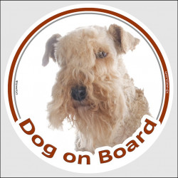 "Circle sticker ""Dog on board"" 15 cm, Lakeland Terrier Head, Label adhesive car decal Patterdale"