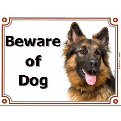Portal Sign, 2 Sizes Beware of Dog, Long-Hair German Shepherd, portal placard, Door Gate panel