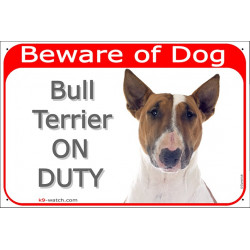 Portal Sign red 24 cm Beware of Dog, Red Smut and White English Bull Terrier on duty, gate plate, portal placard panel